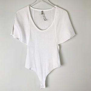 Free People • Bodysuit Ribbed White Short Sleeve